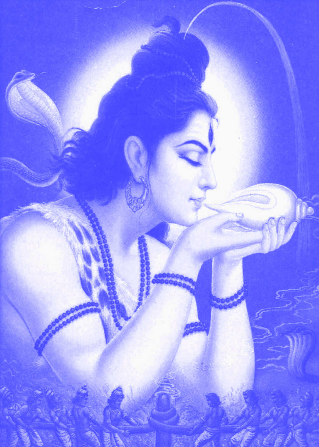 Shiva blowing into his conch shell