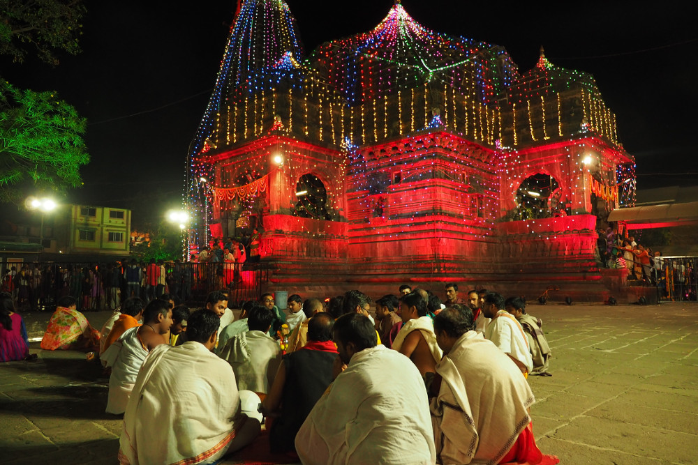 Temple Lights during the Shiva Ratri now turning red
