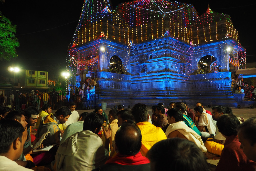 Temple Lights during the Shiva Ratri now turning blue