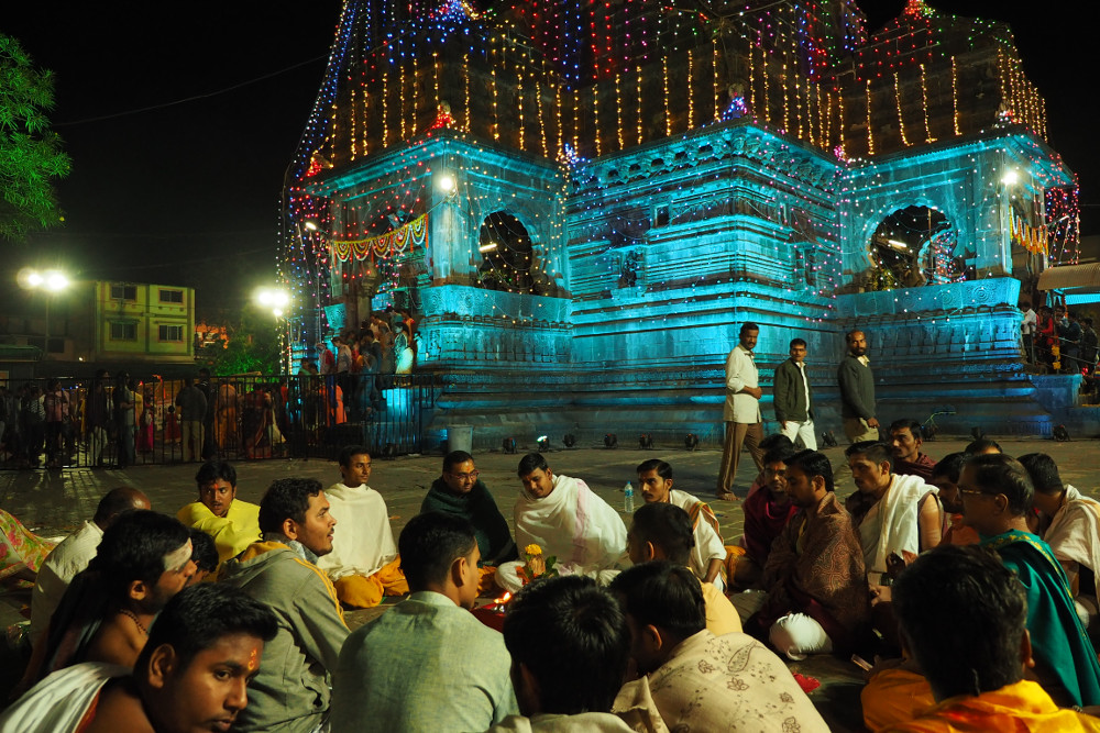 Temple Lights during the Shiva Ratri now turning turquoise